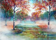 Misty morning by annmbone d4zh0f9 - Vibrant Paintings by Ann Marie  <3 <3