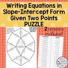 Writing Equations in Slope Intercept Form... by Hayley Cain - Activity After Math | Teachers Pay Teachers