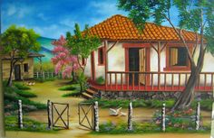 Watercolor Landscape, Landscape Paintings, South American Art, Acrylic Wall Art, Cottage Homes, Drawing For Kids, Scenery, House Styles, Drawings