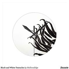 Black and White Tentacles Round Clock