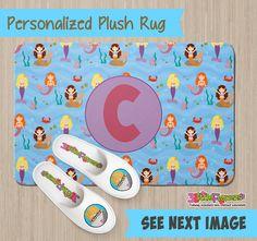 Personalized Mermaid Rug - Personalized Plush Rug - Personalized Nursery Rug - Children Rug - Nursery Mermaid Rug - Mermaid Bedroom