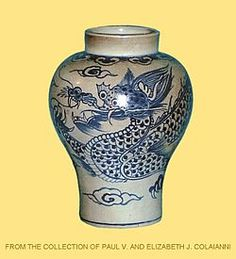 "Vase: Measuring 10"" high and 7"" in diameter. Meiping vase of crackled greenish-gray glaze as a ground with underglaze blue decoration of a writhing dragon wrapped around the complete vase and the typical symbolic cloud motif interspersed."