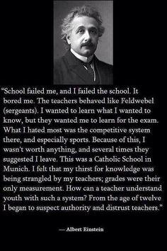 Albert Einstein beliefs abot the school system. (via twitter)