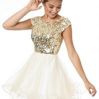 Cap Sleeve Sequin and Tulle Dress. Like this bit different colour. Black or navy maybe