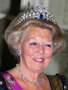 Queen Beatrix of the Netherlands, wearing the Diamond and Sapphire tiara.