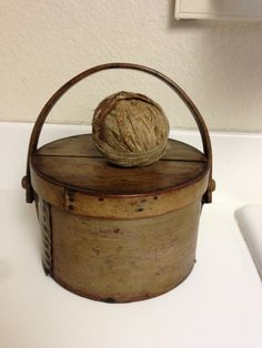 Large 19th C Early Textile Fabric Brown Calico Homespun Calico Rag Ball | eBay
