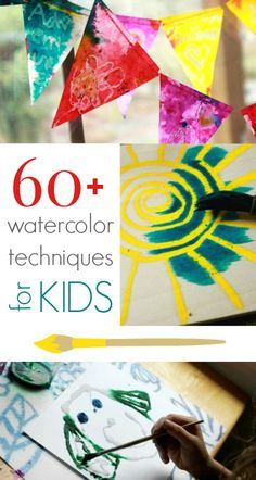 Lots of watercolor techniques for children including salty watercolors, watercolor resist methods, and printing. Over 60 watercolor projects kids will love! Preschool Art, Craft Activities For Kids, Projects For Kids, Art Projects, Crafts For Kids, Arts And Crafts, Color Activities, Therapy Activities, Craft Ideas