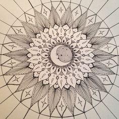 """ little #moon design . #crescent #moon #stars #moonlight #mandala #fineliner #ink #tattooidea #tattoodesign #tattoo #art #sketch_daily #doodlegalaxy…"""
