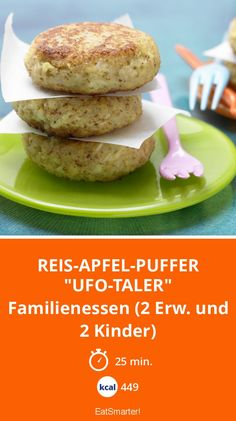 "Reis-Apfel-Puffer ""Ufo-Taler"" - Familienessen (2 Erw. und 2 Kinder) - smarter - Kalorien: 449 Kcal - Zeit: 25 Min. | eatsmarter.de"