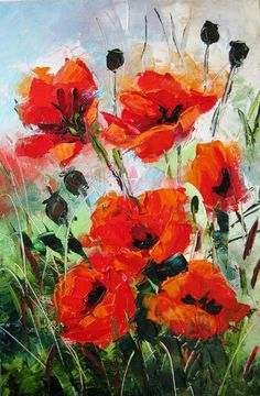 Poppy painting. Small canvas decor. Flower painting wall art. Palette knife oil painting.