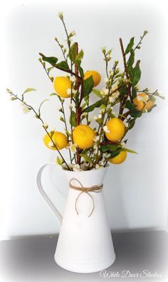 Farmhouse Lemon Branch and Cherry Blossom Arrangement in White Pitcher Capturing the charming beauty of farmhouse decor, this gorgeous lemon branch and cherry blossom arrangement will bring a. Country Farmhouse Decor, Farmhouse Kitchen Decor, Country Chic, Country Kitchen, French Country, Lemon Kitchen Decor, Party Decoration, My New Room, Home Accents