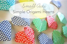 Small acts of love. Simple origami hearts that we made together and have been hiding around the house as sweet reminders for loved ones to discover. Link to origami heart tutorial Holiday Crafts, Holiday Fun, Fun Crafts, Crafts For Kids, Paper Crafts, Valentines Art, Be My Valentine, Kentucky Derby, Diy Projects To Try