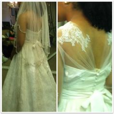 Bride Marsha, pictured in Angelina Couture, wanted to  create an illusion back on her gown. Her wish was our command!  #engaged #bride #metrodetroit #wedding #AshleyandAlexandriasBridal