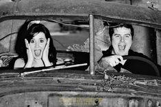 Vintage-inspired engagement shoot at a junk yard. Love this! #junk #photography #engagement #JunkJunkJunk