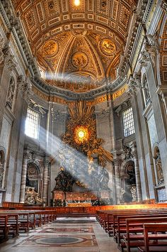 God's beam of light in St. Peter's Basilica - Rome, Italy (HDR)