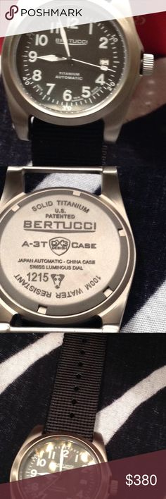 Bertucci A-3T Navigator Ti-Matic Watch/ Black Traditonal and Performance for the Purist US Military or Pilot watch. Bertucci Accessories Jewelry