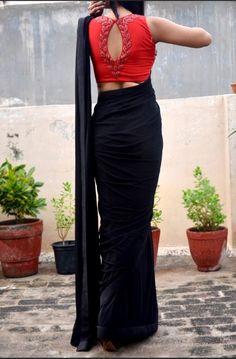 Buy Black Red Net Handwork Saree – Women Sarees Online in India Saree Jacket Designs, Saree Blouse Neck Designs, Fancy Blouse Designs, Blouse Patterns, Sari Design, Blouse Lehenga, Saree Wearing Styles, Stylish Blouse Design, Work Blouse