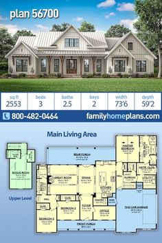 New Farmhouse Home Plan with Modern Amenities – Sq Ft Living Space and 3 Bedrooms NEW modern farmhouse style house plan with an open floor plan through kitchen, dining and great room. Decorative beams and brick features adorn… Continue Reading → Family House Plans, New House Plans, Dream House Plans, Dream Houses, Four Bedroom House Plans, House Plans With Porches, House To Home, 2200 Sq Ft House Plans, Retirement House Plans