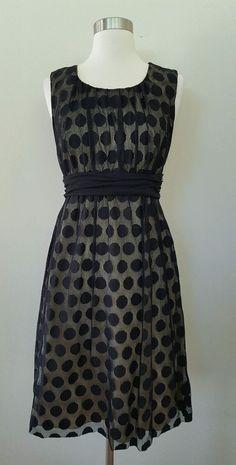 f0429751f061a ANTHROPOLOGIE Weston Wear Black Polka Dot Overlay Sleeveless Day Dress M 8  10