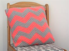 Crochet Cushion Cover Hot Salmon Pink and Grey Chevron   Boutique Creations   madeit.com.au