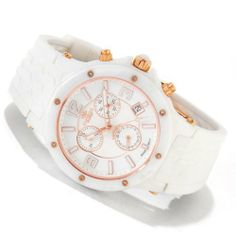 Oniss #ON640-LRG Women's White Ceramic Silicone Strap Swiss Chronogrpah Watch Oniss. $149.95. Precise Swiss Quartz Movement. Water Resistant - 30M. Sapphire Cyrstal, Day/Date Display, Chronograph Function. Case Size:  40mm Diameter, 11.75mm Thickness. Ceramic Case with White Silicone Strap. Save 67%!