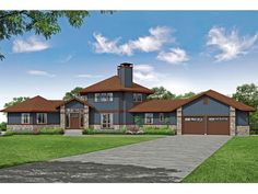 051H-0344: Contemporary House Plan; 3938 sf Unique House Plans, Best House Plans, Contemporary Style Homes, Contemporary House Plans, Modern Homes, Double Sided Fireplace, Mountain House Plans, Craftsman Style House Plans, Lodge Style