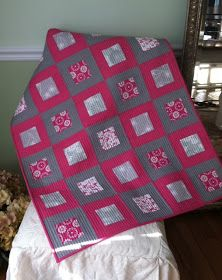 """I'm linking up with the Bloggers' Quilt Festival  and sharing my most recent finished quilt, the """"Pink and Gray Baby Quilt.""""   I made this f..."""