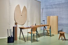 """Legendary french engineer & designer Jean Prouvé (1910-1984) began the conception of the Compas Direction desk in various models in 1950, applying the construction principles that he is know for. All varients share elegantly splayed, narrow legs in metal, a formal reminder of a compass- in French """"le Compas."""" The Compas is an ideal table for the contemporary home office. It cuts a fine figure and is a forever classic. Chair Design, Furniture Design, Jean Prouve, Solid Wood Table Tops, Palette, Cube Design, Metal Structure, Home Office Space, Dining Table"""