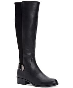 Alfani Women's Step 'N Flex Kallumm Wide-Calf Boots, Created for Macy's - Black Knit Black Riding Boots, Leather Riding Boots, Black Boots, Brown Boots, Wide Calf Boots, Tall Boots, Shoe Boots, High Boots, Mid Heel Shoes