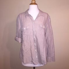 Banana Republic Khaki Button Down Khaki button down top. Can be folded up at the sleeves to be three quarter sleeves. Button to hold in place on the outside of the arms. Wrinkled in pic. Can easily be steamed and is in great condition! Banana Republic Tops Button Down Shirts