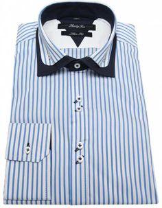 Riccardo - Double Collar Striped Shirts for Men