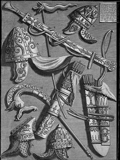 Helmets, dagger, quivers, poker, signs (from the pedestal of the Column of Trajan) - Giovanni Battista Piranesi Ancient Rome, Ancient History, History Of Romania, Trajan's Column, Medieval, Stone Texture, Art Database, Ancient Jewelry, Famous Artists