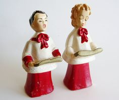 Vintage 50s Chalkware Christmas Carolers Choir by SanDiegoVintage from Etsy