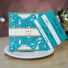 marine green laser cut wedding invitations with glittery bottom cards and bands EWWS138