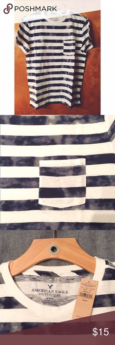 American Eagle Outfitters Men's Short Sleeve Shirt New with tags American Eagle Outfitters men's shirt sleeve shirt. Blue and white stripes with fading accents in blue tones. American Eagle Outfitters Shirts Tees - Short Sleeve