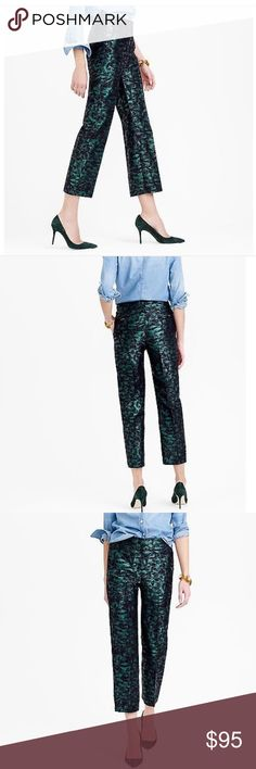 7c9460ed1 J. Crew Patio Evergreen Jacquard Cropped Pants 💯% authentic J. Crew  Collection