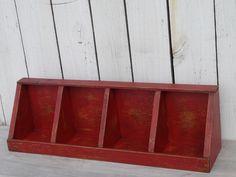 Primitive hand made hand painted wooden divided bin  box/corner shelf home decor #Handmade #Country