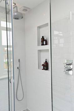 Shower niche with metal edging. Bathroom Niche, Family Bathroom, Bathroom Toilets, Downstairs Bathroom, Laundry In Bathroom, Bathroom Renos, Bathroom Inspo, Bathroom Renovations, Bathroom Inspiration
