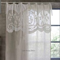 Immagine correlata Vintage Curtains, Shabby Chic Curtains, Lace Curtains, Shabby Home, Shabby Chic Kitchen, Rideaux Shabby Chic, 2017 Decor, Drapes And Blinds, Linens And Lace