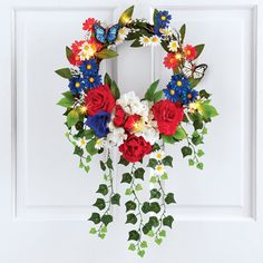 Lighted Patriotic Mixed Floral Wreath Decoration