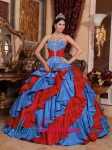 Ball Gown Strapless Floor-length Embroidery Fashion Quinceanera Dress in Blue and Red