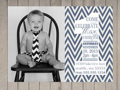 Boys Birthday 1st Photo Invitation, Typography Chevron Faded Navy Cream Vintage, Printable