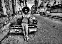 Sheyla with classic car, Havana - Jay Dorfman