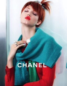CHANEL SS 2014 AD CAMPAIGN MODELS LINDSEY WIXSON SASHA LUSS PHOTOGRAPHER KARL LAGERFELD COLORFUL GREEN BLUW TWEED BOUCLE BOW BRIGHT RED LIPS...
