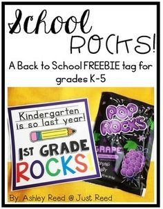 """Print these FREE """"School Rocks"""" treat tags for a back to school or open house pop rocks treat for your students. Back To School Night, Welcome Back To School, Back To School Teacher, Meet The Teacher, Back To School Gifts, Beginning Of The School Year, New School Year, First Day Of School, Get To Know You Activities"""