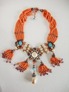 Coral & Turquoise Jewelry in vintage style by mdmButiik. Coral colored Prosser beads made in Czechoslovakia 1918-1920's, Swarovski crystal rhinestones. Baroque glass pearls from Japan. Miriam Haskell