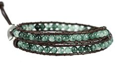 """BLUEYES COLLECTION """"Smart"""" Aqua Green Agate Bead Stainless Steel Snap Button Lock Wrap Leather Bracele"""