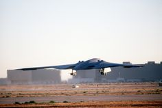 A B-2 Spirit bomber takes off July 17, 1989, from the Northrop Grumman production facility in Palmdale, California on its inaugural flight to Edwards Air Force Base, California. The B-2 would remain in the testing phase until 1993, when the first operational aircraft was delivered to Whiteman AFB, Missouri. (Defense Imagery Management Operations Center photo/Released)