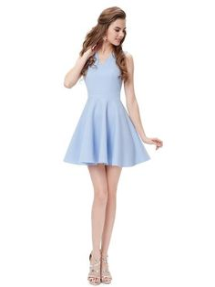 Alisa Pan Sleeveless V Neck Periwinkle Short Party Dress - Ever-Pretty US