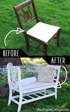 DIY Furniture Hacks |  Français Style Banc De vieilles chaises |  Idées fraîches pour Creative Do It Yourself meubles fabriqués à partir choses que vous pourriez ne pas attendre - http://diyjoy.com/diy-furniture-hacks
